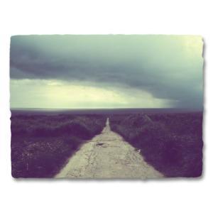 おしゃれな和紙のインテリアアートパネル「スコールの暗い海へと続く道」(18x24cm)|natum