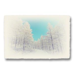 おしゃれな和紙のインテリアアートパネル「青空とカラマツの樹氷の雪道」(18x27cm)|natum
