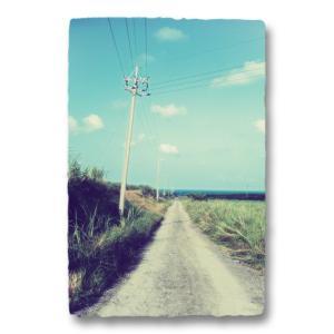 おしゃれな和紙のインテリアアートパネル「電柱と海へと続く道」(18x27cm)|natum