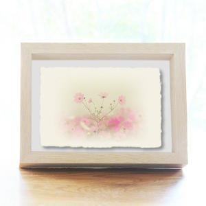 手漉き和紙の立体アートフレーム「霧空のピンク色のコスモス」(20x15cm)|natum