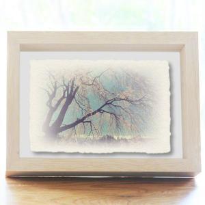 手漉き和紙の立体アートフレーム「青空と見上げるしだれ桜と残雪の北アルプス」(20x15cm)|natum
