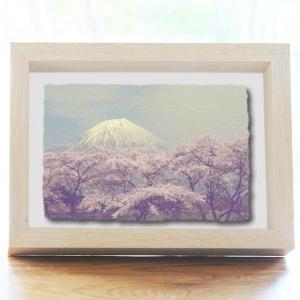 手漉き和紙の立体アートフレーム「湖畔の桜と残雪の富士山」(20x15cm)|natum