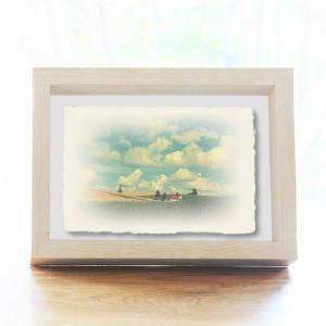 手漉き和紙の立体アートフレーム「夏の雲とジャガイモ畑と赤い家」(20x15cm)|natum