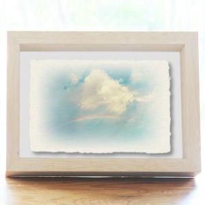 手漉き和紙の立体アートフレーム「虹と入道雲」(20x15cm)|natum