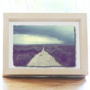 手漉き和紙の立体アートフレーム「スコールの暗い海へと続く道」(20x15cm)|natum
