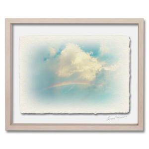 手漉き和紙の立体アートフレーム「虹と入道雲」(32x26cm)|natum