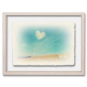 手漉き和紙の立体アートフレーム「牧草ロールの丘の白い椅子と青空に浮かぶハートの雲」(40x30cm)|natum