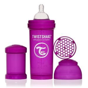 ツイストシェイク (TWIST SHAKE) カラフルな哺乳瓶 ツイストシェイク パープル Mサイズ 260ml パウダーケース付き|natural-living