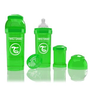 ツイストシェイク (TWIST SHAKE) カラフルな哺乳瓶 ツイストシェイク グリーン Mサイズ 260ml パウダーケース付き|natural-living
