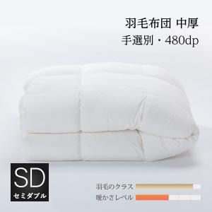羽毛中厚掛け布団 セミダブル175x210cm 収納袋付 手選別グース natural-sleep