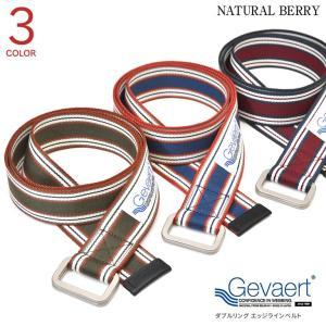 ゲバルト ベルト Wリングエッジラインベルト 布ベルト 35mm GEVAERT 厚手 レザーコンビ 日本製 メンズ レディース カジュアル naturalberry