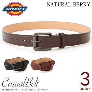 DICKIES ディッキーズ 35mm幅 ロゴデザイン ローラーバックル フェイクレザーベルト PU メンズ カジュアル DC0163C|naturalberry