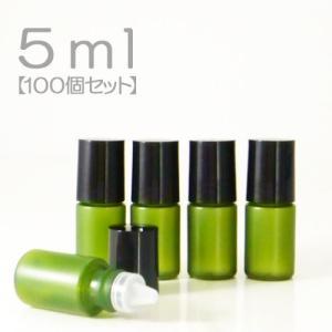 ミニボトル容器 5ml (グリーン) (100個セット) (メール便不可)|naturalcosmetic