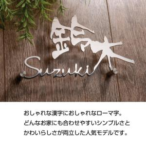 表札 「ラ・モード リザーラ」ステンレス おしゃれな漢字におしゃれなローマ字|naturulu|03