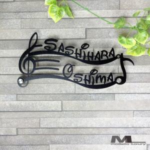 表札「おんぷ2世帯」2世帯住宅用 ステンレス製|naturulu