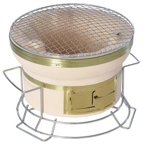BBQ・七輪・焚火台 BUNDOK スタンド付き七輪 丸型 直径24cm 卓上使用可能のスタンド付き|naturum-od