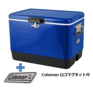 キャンプクーラー コールマン(Coleman) 54QTスチールベルトクーラー+コールマン ロゴマグネット 2点セット ブルースムース|naturum-od