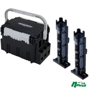 タックルボックス メイホウ ★バケットマウスBM-5000+ロッドスタンド BM-250 Light 2本組セット★ ブラック/クリアブラック×ブラック|naturum-outdoor