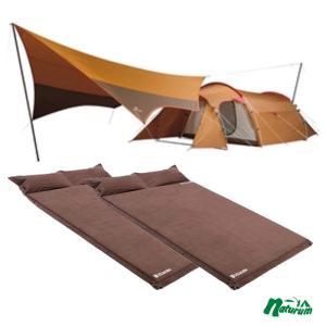 テント スノーピーク エントリーパック TT+キャンプ用スエードインフレーターマット枕付きタイプ×2【3点セット】|naturum-outdoor
