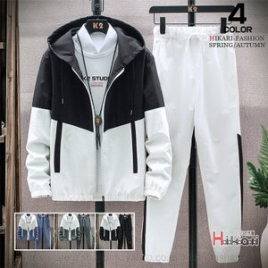 ウインドブレーカー 上下 メンズ ジャケット 薄手 配色 春物 セットアップ 運動着 カジュアル おしゃれ 送料無料|natyunal-shop