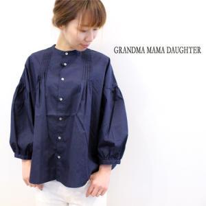 GRANDMA MAMA DAUGHTER(グランマ ママ ドーター) 7分袖パフスリーブシャツ GS811801 2coler naval-sendai