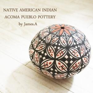 アメリカン インディアン ポタリー 壺Native American indian Acoma Peblo Potteryby James A あすつく