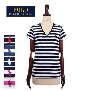 bd88f6586ac60 メール便送料無料 ラルフローレン ポロ レディース コットン Vネック ボーダー Tシャツ ネイビー POLO by Ralph Lauren T- Shirtメール便可