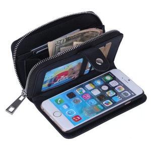 スマホ ケース カバー iphone6/6s plus 手帳型 ポーチ 大容量 財布代わりに 定期入れ付 黒|ndhci2014
