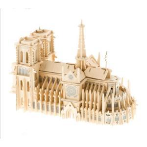 木工模型 工作キット ウッドクラフト ノートルダム大聖堂  簡単組み立ての3D立体パズル