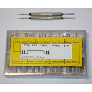 腕時計ベルト バンド用ばね棒(6mm-23mm)各20+バネ棒はずし2本