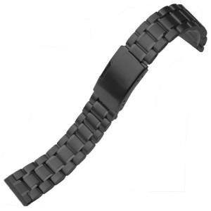 腕時計 交換バンド ベルト ステンレス無垢 ブラック 3連 18mm 20mm 22mm 24mm 直カン プッシュ式 工具付|ndhci2014
