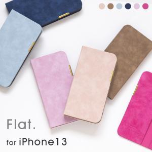 iPhone13 ケース 手帳型 アイフォン 13 手帳 ケース カバー おしゃれ ブランド かわいい 革 レディース メンズ シンプル Flat|ndos