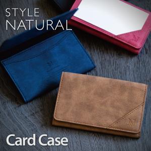 名刺入れ カードケース メンズ レディース 薄型 カードホルダー スリム カード入れ 薄型 本革風 レザー ICカード STYLENATURAL CardCase|ndos