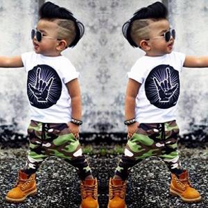 BAO8 子供服男の子女の子  上下セットベービー服  セットアップ 男の子の手のプリントの半袖Tシ...