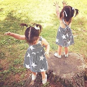 BAO8 子供服 女の子 スカート プリントドレス 星柄 月柄 日柄 可愛い 膝丈 ワンピース 袖な...