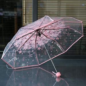 Tumdem コンパクト折り折りたたみ桜傘透明クリア傘三折りたたみ8リブ防風傘女性雨傘の画像