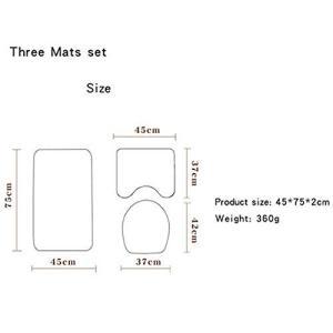 Xihouxian スリーピースカーペット吸水色あせない、黒背景バスマットトイレ便座ワイルドセットの快適なバスルーム柄マットは洗濯機で洗えます L10の商品画像|ナビ