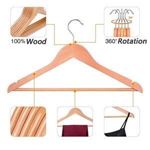 木製スーツハンガースカートハンガー、ナチュラルウッドパンツハンガー、標準的な洋服ハンガー、360°ス...