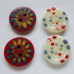 ヴィンテージガラスボタン 17.4mm厚さ3.5mm +ヴィンテージ樹脂ボタン 17.4mm厚さ2.5mm 2種類2個づつ 合計4個|needlemama