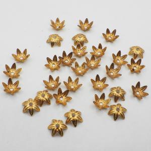 オリジナルゴールド加工11 ヴィンテージミリアムハスケル ビーズキャップ 8.9mmx高さ4.8mm 28個|needlemama