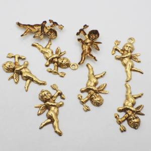オリジナルゴールド加工11 ミリアムハスケル 天使難あり 天使の向きトップの穴有り無しなどバラバラです 25mmx15mm 8個 限定数1|needlemama