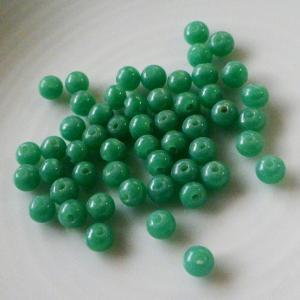 デッドストック輸出用日本製ビーズ グリーンジェイド翡翠色 3mm50個 needlemama