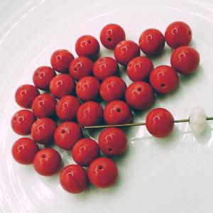デッドストック輸出用日本製ビーズ 濃い珊瑚色 6mm 30個 needlemama