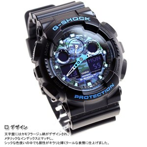 本日ポイント最大25倍!22日23時59分まで! Gショック G-SHOCK 腕時計 ブラック×ブルー 迷彩 カモフラージュ GA-100CB-1AJF ジーショック|neel|06