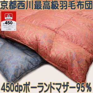 京都西川シングル95%マザーグース450dp精紡交撚糸ジュエルコットの軽量羽毛布団|negokochi