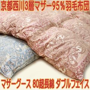 京都西川シングル三層ダブルフェイス羽毛布団95%ハンガリー産430DP 3層構造羽毛布団|negokochi