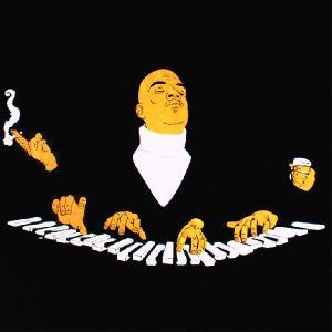おもしろTシャツ 天才肌のピアノマン!一番外側の手には...!?「ゆったり気分で作曲するアーティスト」 デザインTシャツ|neigh