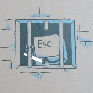 おもしろTシャツ キーボードの牢屋からの脱獄!?「ESCキーの脱獄」あなたのキーボードからも脱走してるかも!? デザインTシャツ|neigh