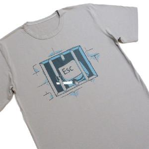 おもしろTシャツ キーボードの牢屋からの脱獄!?「ESCキーの脱獄」あなたのキーボードからも脱走してるかも!? デザインTシャツ|neigh|05