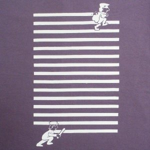 おもしろTシャツ 逃げ出した泥棒をタイホ!「どうやっても逃げられない!」ゴムゴムばりに手が伸びてストライプに!? デザインTシャツ|neigh
